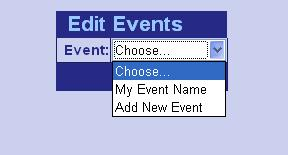 Choose event to modify.
